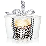 Arts & Crafts : 25 Clear Boxes for Cupcake or Mini Gift | Display with Single Individual Plastic Box for Large Cupcakes | Wedding Favor in Bulk