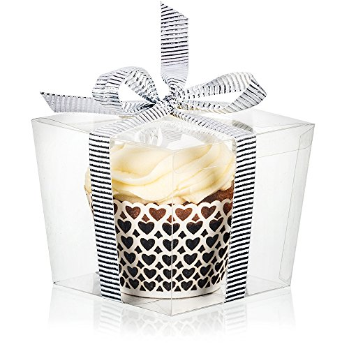 25 Clear Boxes for Cupcake or Mini Gift | Display with Single Individual Plastic Box for Large Cupcakes | Wedding Favor in Bulk]()