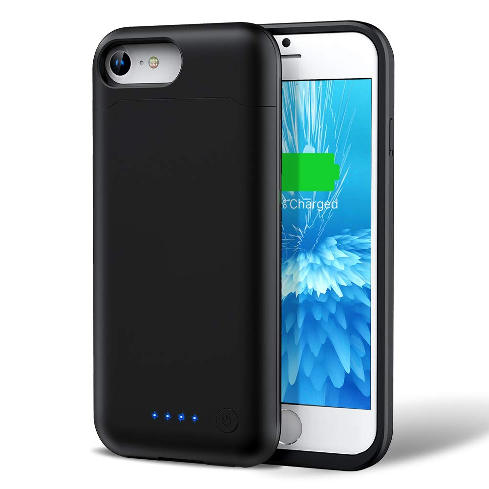 Battery Case for iPhone 7/8, 6000mAh iPhone 7/8 Battery Case Upgraded Extended Portable Protective Charging Case for iPhone 7/8 (4.7 inch)-Black