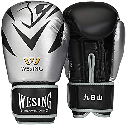 Wesing Lion Boxing Gloves Kickboxing Bagwork Gel Sparring Training Gloves for Women and Men Workout Exersize Gloves