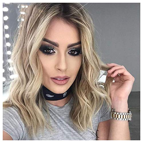Degocixe Light Blonde Wigs for White Women Short Curly Wavy Wig Bob Hair Wig for Women Ombre Synthetic Wigs with Dark Roots Natural as Real Hair DX017 -