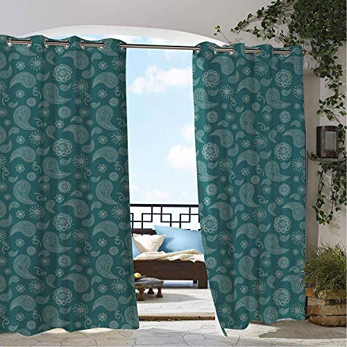 Linhomedecor Patio Waterproof Curtain Paisley Floral Circular Pattern Teardrop Shaped Eastern Motifs Illustration Dark Cadet Blue and White Porch Grommets Backdrop Curtains 108 by 96 inch ()