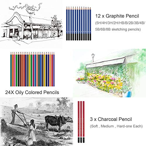48 Pieces Sketch and Painting Art Supplies Set, Complete Professional Artist Kit with Graphite Pencils,Charcoal Pencils, Color Pencils,Paper Erasable Pen, Great Gift
