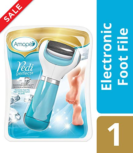 (Amope Pedi Perfect Electronic Dry Foot File, Callous Remover for Feet, Hard and Dead Skin- Regular Coarse, Blue. Batteries Included. Baby smooth feet in minutes. For in home pedicure foot care spa.)