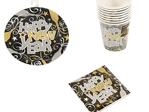Elegant New years Celebration - Happy New Year Bundle of 48 Paper Plates 7 Inches - 48 cups 9 Ounce - 120 Beverage Napkins 10''x 10''x 25 cm