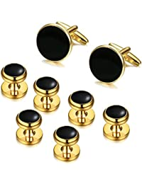Mens Classic Cufflinks and Studs Set for Tuxedo Formal Kit Business or Wedding Shirts