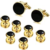 ORAZIO Mens Classic Cufflinks and Studs Set for Tuxedo Formal Kit Business or Wedding Shirts