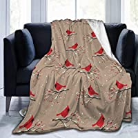 """GULTMEE Ultra-Soft Micro Fleece Soft and Warm Throw Blanket,Cardinal Bird Silhouettes On Snowy Berry Branches On Abstract Background, Perfect for Bed, Sofa, 80""""x60"""""""