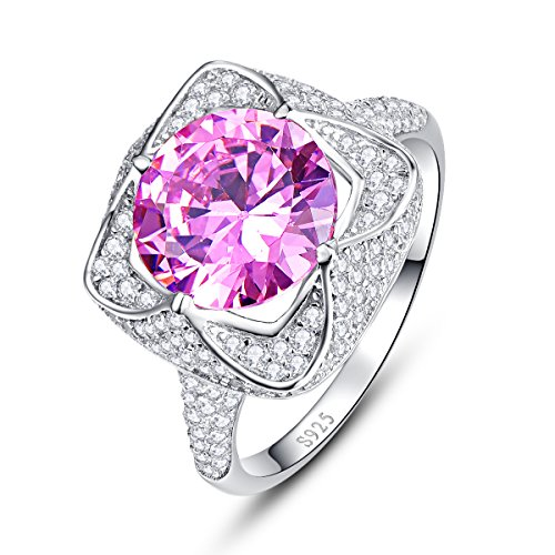 Classy Engagement Ring Set (BONLAVIE 925 Sterling Silver Created Pink Topaz CZ Halo Bridal Engagement Ring Size 7)