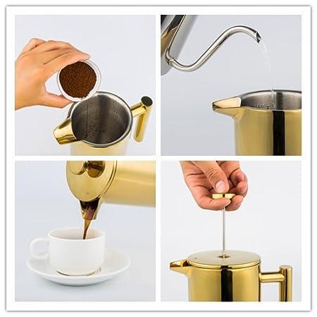 Miuly French Press Kaffee- und Teemaschinen 8 Tassen Bonus mit zwei zus/ätzlichen Filtersieben Gold Doppelwandiger 18//8 Edelstahl Hitzebest/ändiger Tee- oder Cafetiere-Wasserkocher 1 Liter