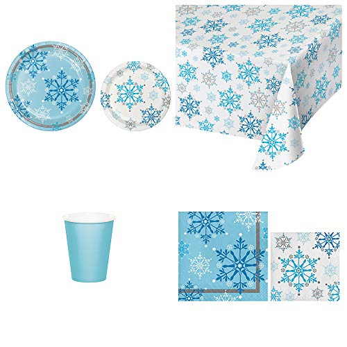 Disposable Paper Plates, Napkins, Cups, Tablecloth - Christmas Party Supplies in a Snowflake Swirl Winter Theme, Serves 8 -