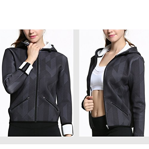 Zhhlaixing Women Yoga Deportes Clothes Running Gym Fitness Long Sleeve Hooded Coat Black gray