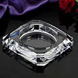Home Windproof Ashtray Crystal Glass Cigar Living Room Office Indoor And Outdoor Ashtray (Transparent Color) ( Size : 25CM )