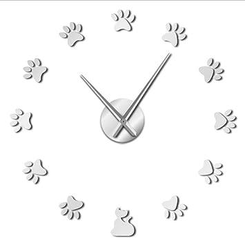 Djkaa Patas De Gato DIY Reloj De Pared DIY Arte De La Pared Gigante Decoración para ...