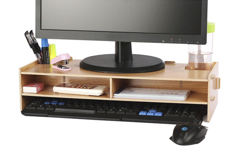 Amazoncom AZLife Desktop Monitor Stand Wooden Monitor Riser TV