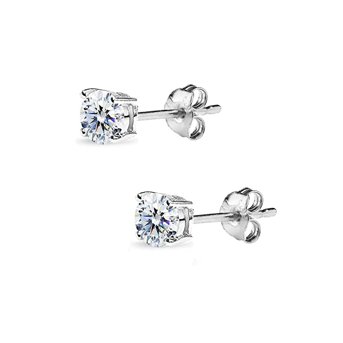 df619e078 Amazon.com: Sterling Silver 4mm Round Solitaire Stud Earrings Made with Swarovski  Zirconia: Jewelry