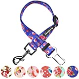 Blueberry Pet Spring Scent Inspired Rose Print Irish Blue Adjustable Dog Seat Belt Tether for Dogs Cats, Durable Safety Car Vehicle Seatbelts Leads Use with Harness