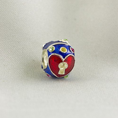 Heart and Key Charm, Jewelry Bead Key-To-My-Heart Enameled Red Heart on Blue Add-A-Charm Sterling Silver Large Hole Bead for Bracelet, Jewelry for Women - Enameled Heart Bead