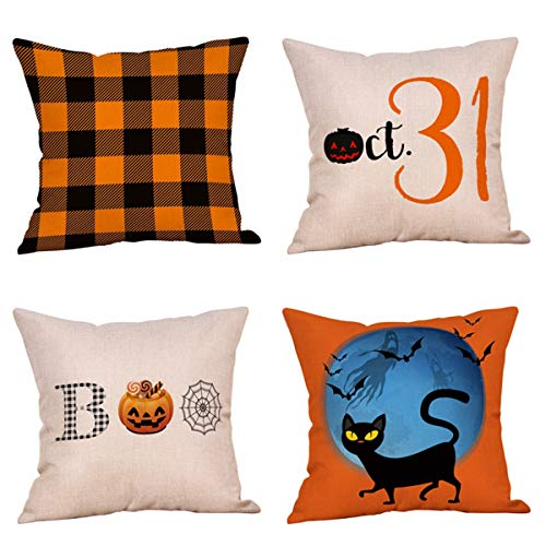 4 Pack Vintage Farmhouse Buffalo Check Plaids Halloween Throw Pillow Covers,Pumpkin,Bats,Black Cat,Spider Web,Boo Cushion Case Linen 18x18 Inch Indoor Outdoor Halloween Party Decor(Happy Halloween) ()