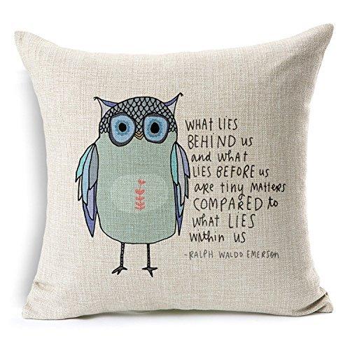 Price comparison product image Decorbox Cotton Linen Square Throw Pillow Case Decorative Cushion Cover Pillowcase Owl Sayings (oil)