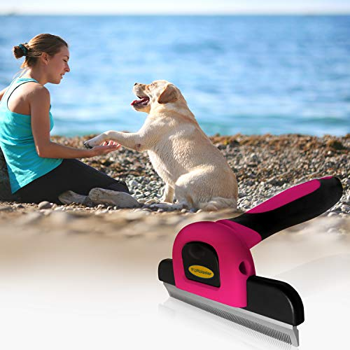 DakPets Pet Grooming Brush Effectively Reduces Shedding by up to 95% Professional Deshedding Tool for Dogs and Cats