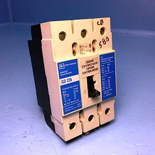 [Cutler-Hammer GD3015 15A Circuit Breaker GD 22k 480V Westinghouse 15 Amp w/ clip] (Westinghouse 15 Amp Circuit Breaker)