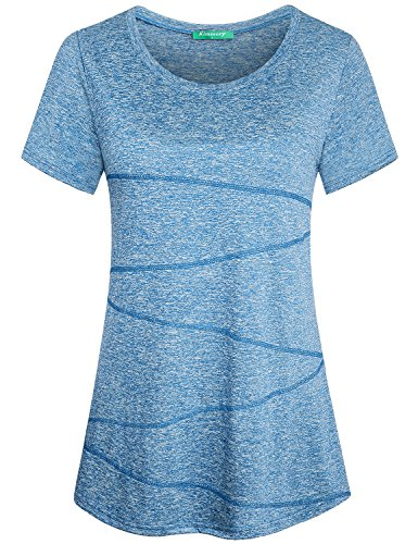Fitness Shirts for Women,Kimmery Casual Feminine Teenager Running Tops Short Sleeve Althetic Wear Boat Neck Nice Quality High Stretch Lightweight Skinny Well Made Swimming Blouses Light Blue XX Large