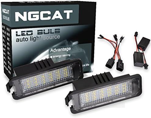 ngcat 18 LED 3528 SMD Bombilla LED licencia número placa lámparas de luz Canbus Libre De Errores para Golf 4 Eos 06 Passat CC 09 (Pack de 2)