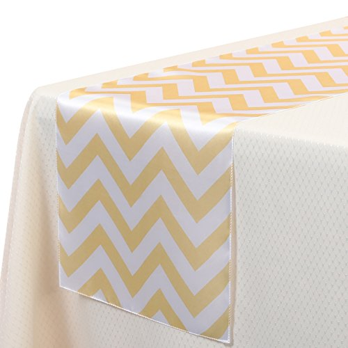 VEEYOO 14x108 Inch Satin Chevron Wedding Party Table Runner Cloth Cover Gold