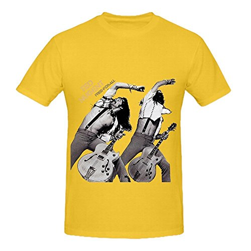 Ted Nugent Free For All Tour Greatest Hits Mens O Neck Art Tee Yellow