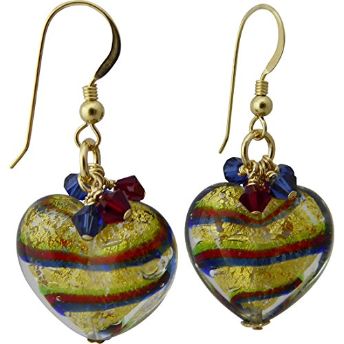 (Tigrato Stripes Blue, Green and Red Murano Glass Earrings with Swarovski Crystal)