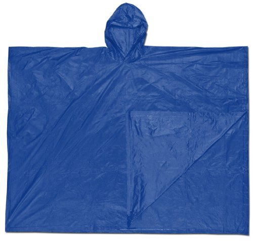 MCR Safety O43 52 by 80-Inch Schooner PVC Single Ply Disposable Poncho with Attached Hood, Blue by MCR Safety