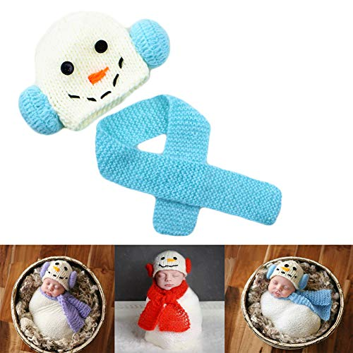 Baby Photography Props Snowman Hats Scarf Unisex Newborn Photos Outfits Crochet Knitted Infant Photo Shoot Costume (Blue) (Unisex Snowman)