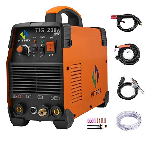 HITBOX TIG Welder 200A Portable TIG Welding Machine High Frequency 220V TIG MMA 200 with TIG Stick IGBT Inverter Welder