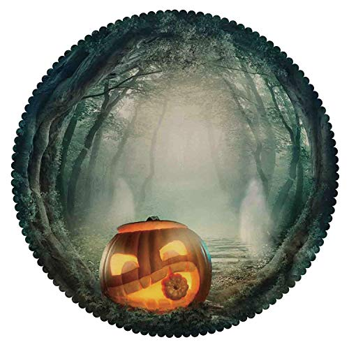 iPrint Beautiful Round Tablecloth [ Halloween Decorations,Scary Halloween Pumpkin Enchanted Forest Mystic Twilight Party Art,Orange Teal ] Decorative Ideas -