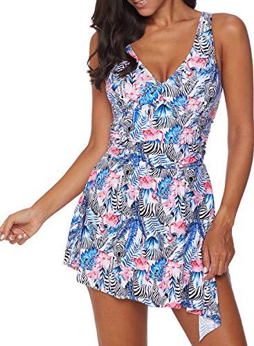 Acelitt Women's V Neck Floral Print Side Slit Swimming Costume Swim Dress Swimdress Bathing Suit with Bottom V Back Large 12 14