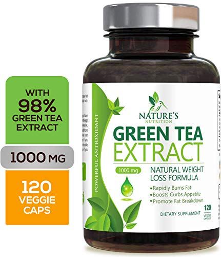Green Tea Extract 98% with EGCG for Weight Loss 1000mg - Boost Metabolism for Healthy Heart - Antioxidants & Polyphenols for Immune System - Gentle Caffeine - Natural Fat Burner - Accelerator Loss Weight