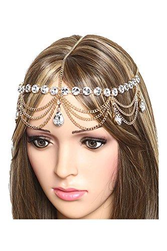 {CH0108 J JEWELRY} Beautiful Gold Plated elegant, bridal, wedding, bohemian head chain with Tear Drop Rhinestone for Women (GOLD)