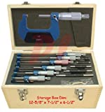 6 PC Micrometer Outside OD 0-6'' (0-152mm) 0.0001 Precision 1''-5'' Stick