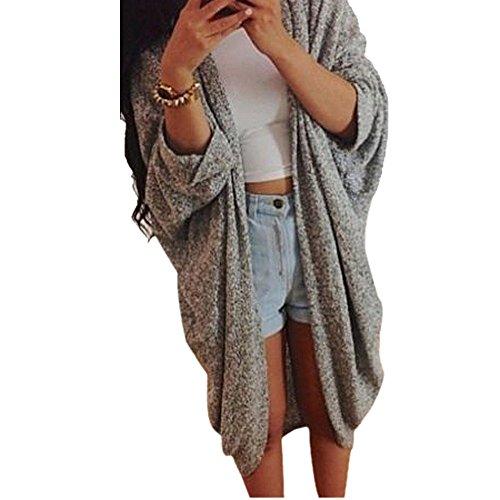 Baomabao Womens Casual Knit Sleeve Sweater Cardigan Jacket Coat (Large)