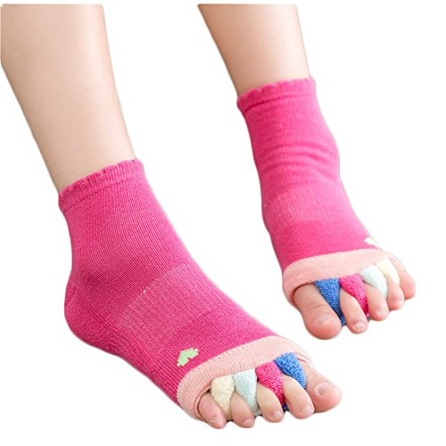 Yoga Gym Massage Five Toe Separator Socks Toeless Health Socks Foot Alignment Pain Relief (Rosy) by Coberllus