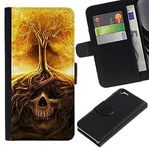 All Phone Most Case / Oferta Especial Cáscara Funda de cuero Monedero Cubierta de proteccion Caso / Wallet Case for Apple Iphone 6 // Fire Tree Skull Meaning Death Metal