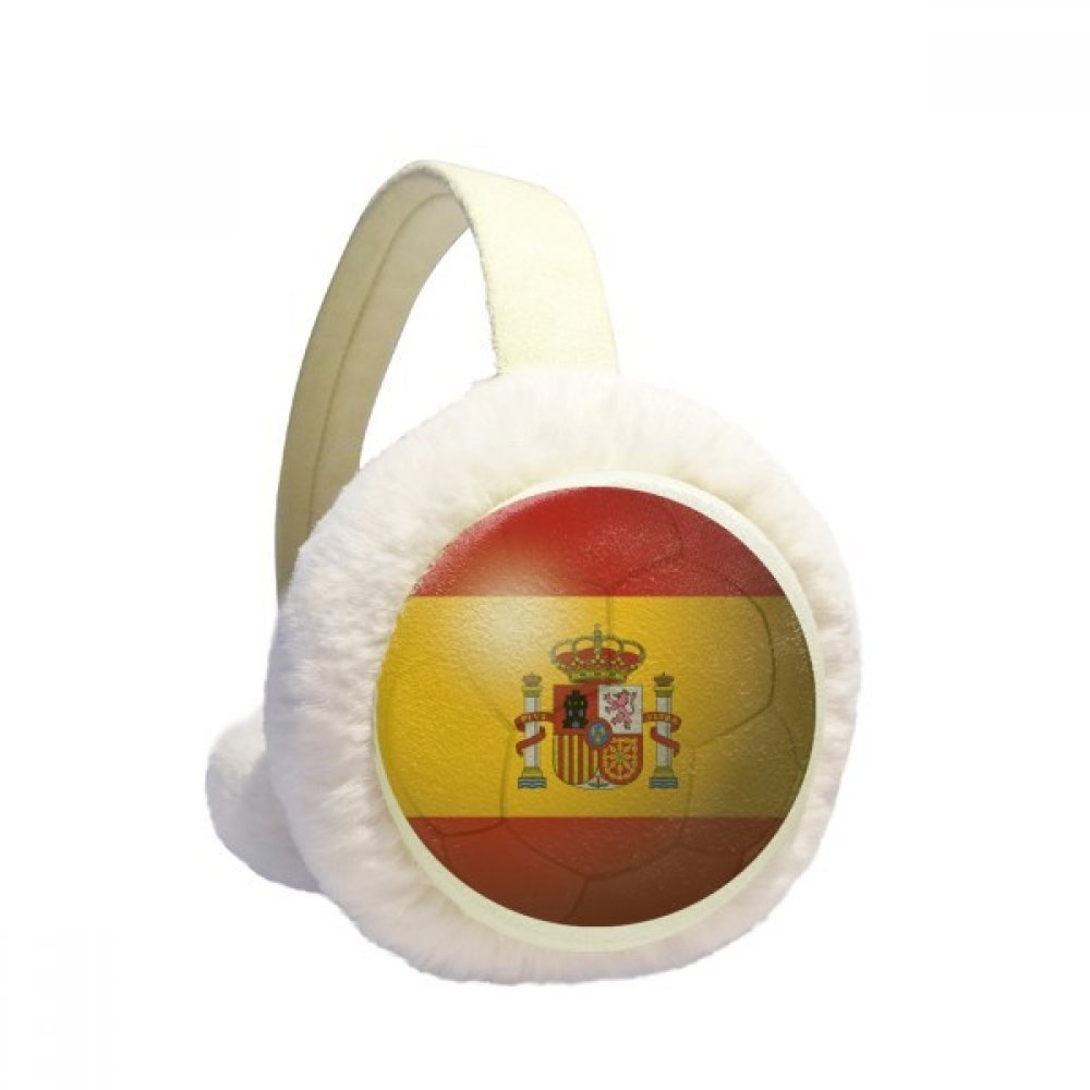 Spain National Flag Soccer Football Winter Earmuffs Ear Warmers Faux Fur Foldable Plush Outdoor Gift