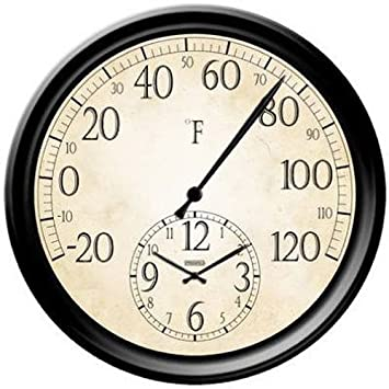 Perfect Springfield Patio Thermometer With Clock, 14 Inch