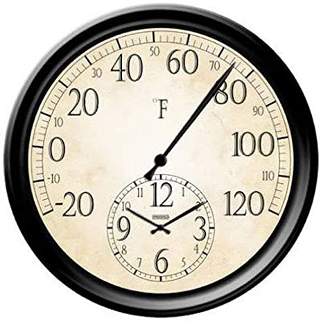 Nice Springfield Patio Thermometer With Clock, 14 Inch