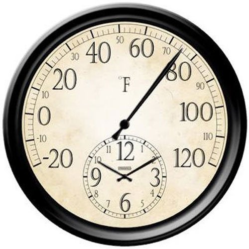 Springfield Patio Thermometer with Clock, 14-Inch (Outdoor Clocks And Temperature Gauges)