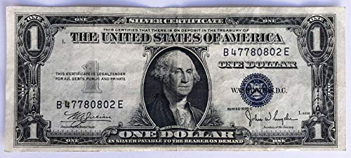 1935 No Mint Mark Series C 1$ One Dollar Blue Seal Silver Certificate Currency Note $1 Seller Very Good ()