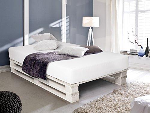 PALETTI Massivholzbett Duo Holzbett Palettenbett Bett aus Paletten mit 11  Leisten, 140 x 200 cm, Fichte Weiss