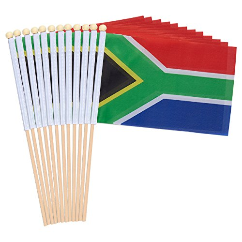 12-Piece South Africa Stick Flags - South African Hand-held Flags, Polyester Country Stick Flag Banners, Decorations for Parties, Parades, Sports Events, and International Festivals- 5.5 x 8.3 Inches