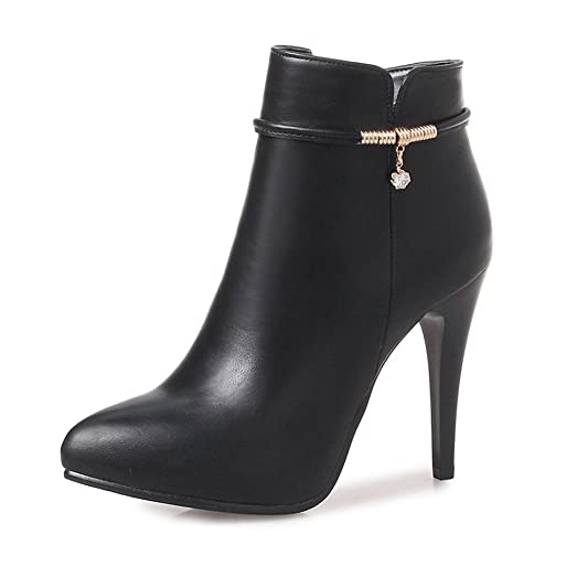 Women's Sexy Pointed Toe Strap Side Zipper Ankle Booties Stiletto High Heel Short Boots Shoes